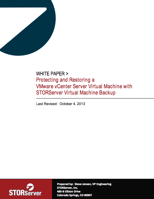 Protecting and Restoring a VMWare vCenter Server Virtual Machine with STORServer Virtual Machine Backup